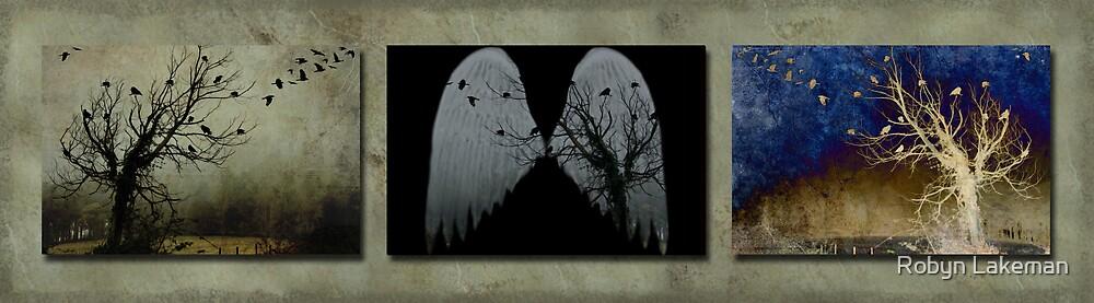 Crow tree triptych by Robyn Lakeman