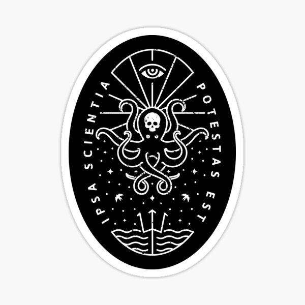 Knowledge - White/Skull Sticker