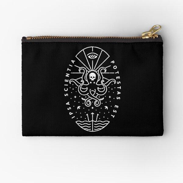Knowledge - White/Skull Zipper Pouch