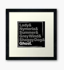 Stark Direwolves / Die Schattenwölfe des Haus Stark Framed Print