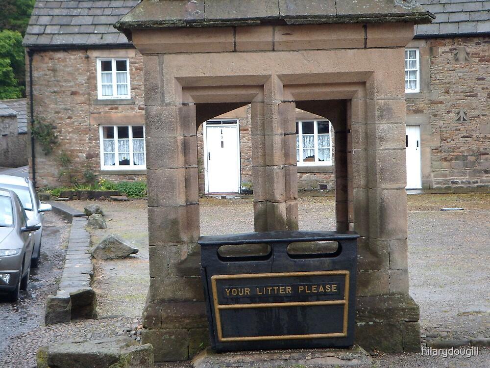 Rubbish bin in Blanchland by hilarydougill