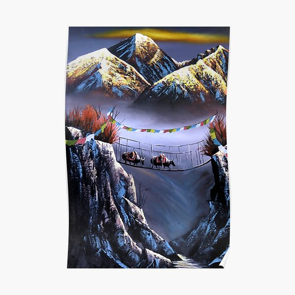 Panoramic View Of Everest Mountain Poster