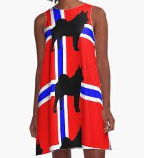 norwegian elkhound silhouette on flag A-Line Dress