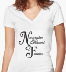 norwegian elkhound fancier Women's Fitted V-Neck T-Shirt