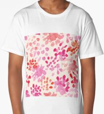 Watercolor flowers in pink and red, floral Long T-Shirt