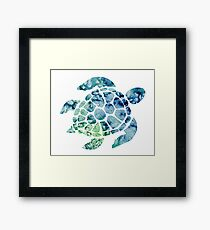 Watercolor blue and green sea turtle design  Framed Print