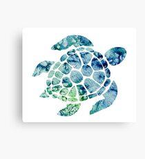 Watercolor blue and green sea turtle design  Canvas Print