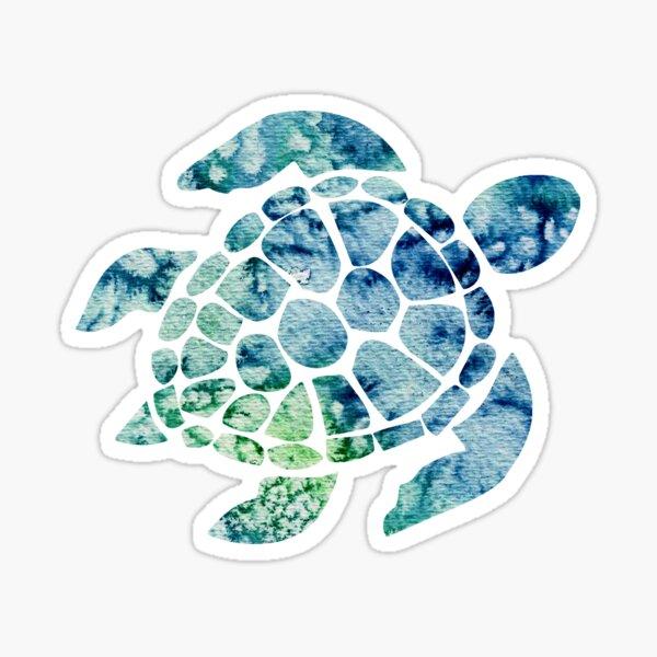 Watercolor blue and green sea turtle design  Sticker