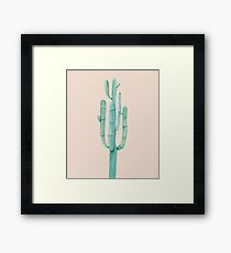Pretty Cactus Pink and Green Desert Cacti Southwestern Home Decor Framed Print