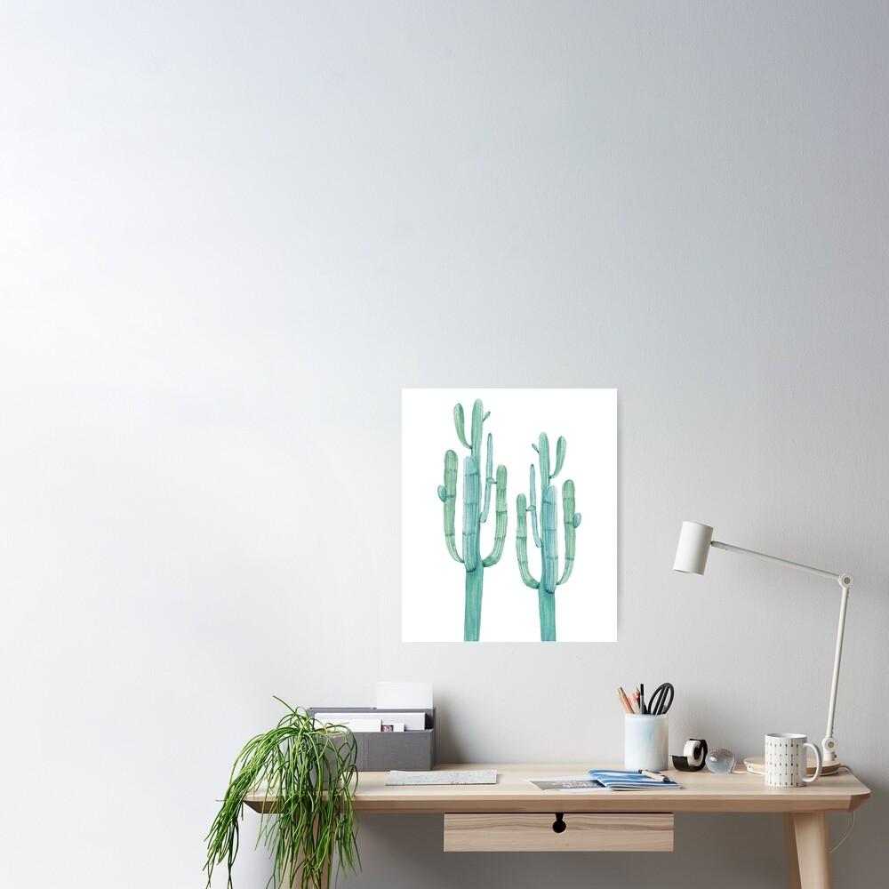 Modischer Kaktus-grüner und weißer Wüsten-Kaktus-Entwurf Poster
