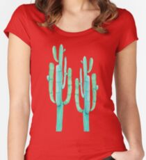 Trendy Cactus Pink Rose and Green Desert Cacti Illustration Women's Fitted Scoop T-Shirt