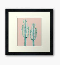 Trendy Cactus Pink Rose and Green Desert Cacti Illustration Framed Print