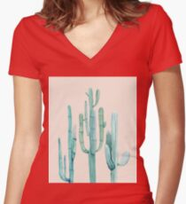 Trendy Cactus Pink and Turquoise Desert Cacti Design Women's Fitted V-Neck T-Shirt