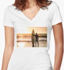 Surfer watching the waves Women's Fitted V-Neck T-Shirt