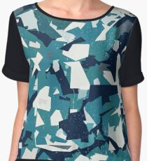 Abstract Vector Blue Military Camouflage Background Women's Chiffon Top