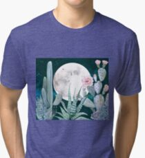 Cactus Night Pretty Pink and Blue Desert Stars Cacti Illustration Tri-blend T-Shirt