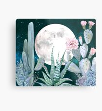 Cactus Nights Pretty Pink and Blue Desert Stars Cacti Illustration Metal Print