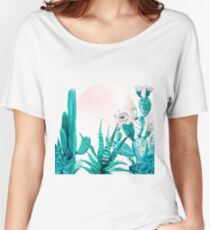 Pretty Pink Cactus Rosegold and Green Desert Cacti Illustration Women's Relaxed Fit T-Shirt