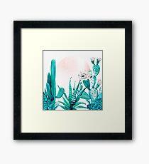 Pretty Pink Cactus Rosegold and Green Desert Cacti Illustration Framed Print