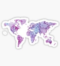 World Map: Pink and Purple watercolor design  Sticker