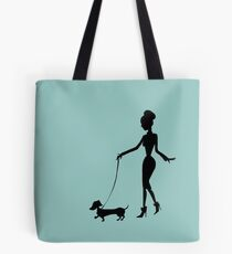 Flaunting The Pooch (teal) - Dachshund Sausage Dog Tote Bag