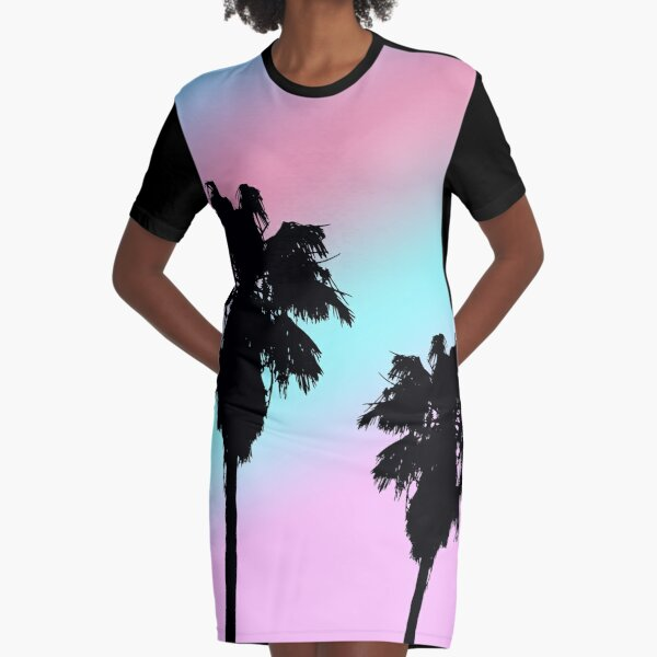 Pastel Sunset Palm Trees Graphic T-Shirt Dress