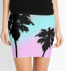 Pastel Sunset Palm Tree Silhouette Mini Skirt
