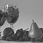 Still Life Wine and Fruit in B & W by Sherry Hallemeier
