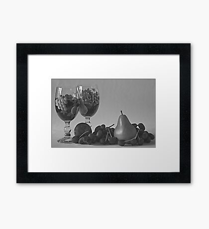 Still Life Wine and Fruit in B & W Framed Print