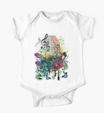 Vintage Music Microphone with Floral One Piece - Short Sleeve