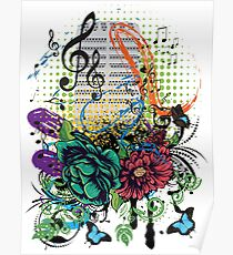 Vintage Music Microphone with Floral Poster