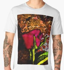 Red Rose and Green Leaf with some Brown Men's Premium T-Shirt