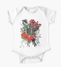 Vintage Music Microphone with Floral 2 One Piece - Short Sleeve