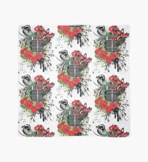 Vintage Music Microphone with Floral 2 Scarf