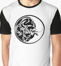 Black Bull Silhouette In Tribal Tattoo Style Graphic T-Shirt