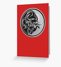 Black Bull Silhouette In Tattoo Style On Silver Greeting Card