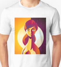 bipolar colorful woman in a sun and moon sky Unisex T-Shirt