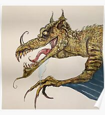Fire Breathing Dragon illustration Poster