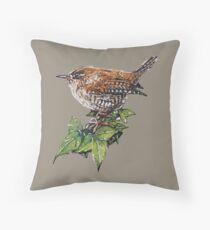 Jenny Wren, Garden Bird Art Throw Pillow