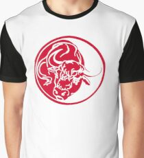 Bull Silhouette In Red Ink Tattoo Style Graphic T-Shirt