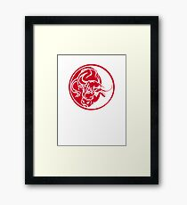 Bull Silhouette In Red Ink Tattoo Style Framed Print