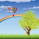 Heißluftballone über Grasfeld 2 von AnnArtshock