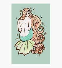 Marina - Mermaid Watercolor Painting Photographic Print