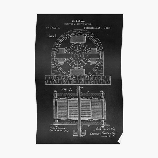 Tesla Coil Patent Art Poster