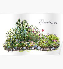 Summer flowers and grass Poster