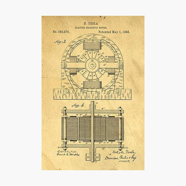TESLA POSTER Electric Motor 1888 Patent  Photographic Print