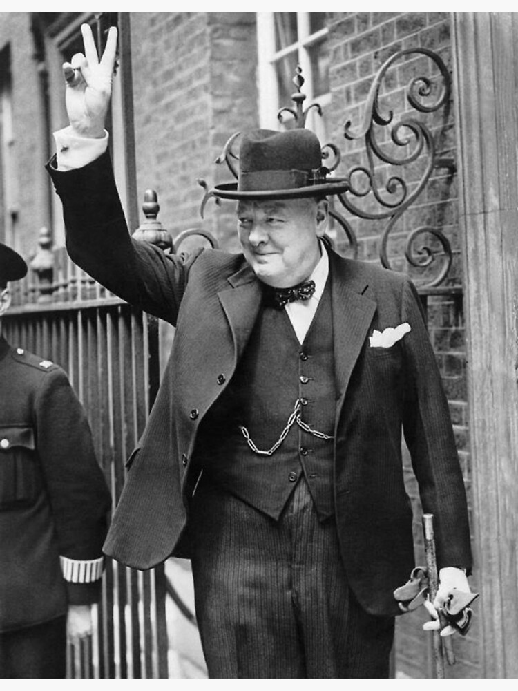 Winston, Churchill, British prime minister, V sign, Victory, 1943, WWII. by TOMSREDBUBBLE