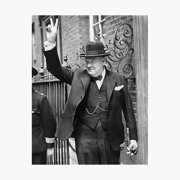 Winston, Churchill, British prime minister, V sign, Victory, 1943, WWII. Photographic Print
