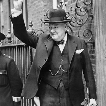 Winston, Churchill, British prime minister, V sign, Victory, 1943, WWII by TOMSREDBUBBLE
