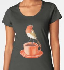 coffee loving robin bird Women's Premium T-Shirt